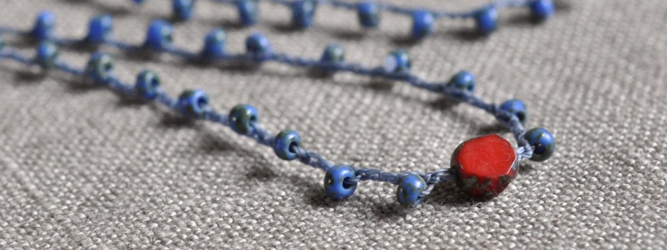 blue and red crocheted Czech glass necklace