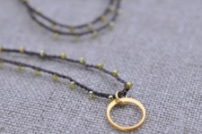 Itty Bitty vermeil circle pendant on brown and gold strand